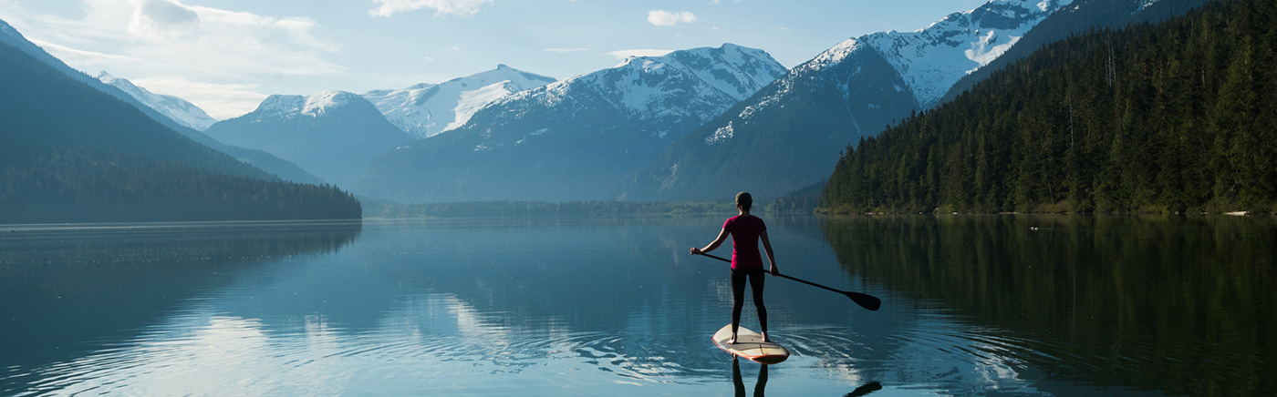 Lone paddleboarder in a lake surounded by mountains