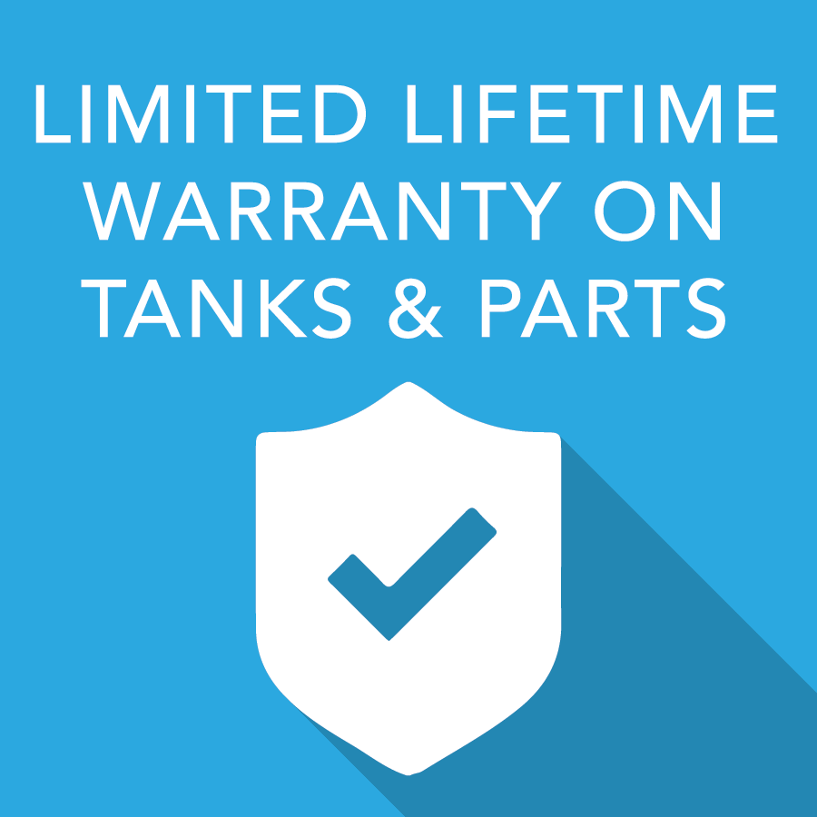 Limited Lifetime Warranty on tanks and parts