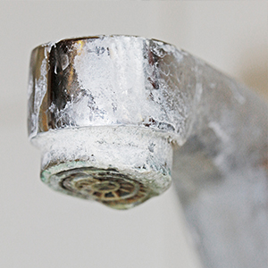 Hard water scale built up on faucet