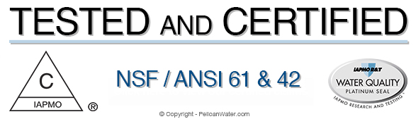 Certified and Tested to NSF/ANSI Standard 61 for material safety and tested according to NSF/ANSI 42 for structural integrity in all 50 states, including California